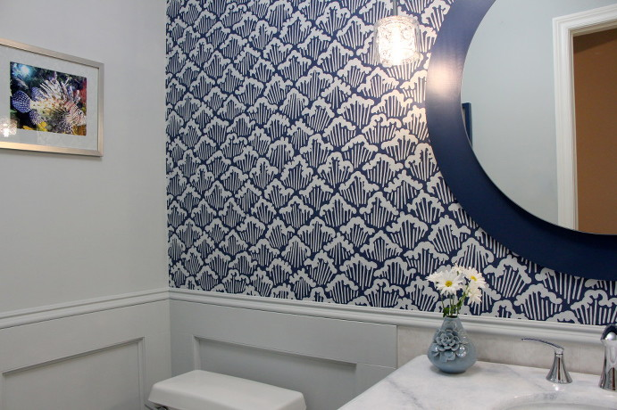 Wallpaper in Powder Room Farrow & Ball