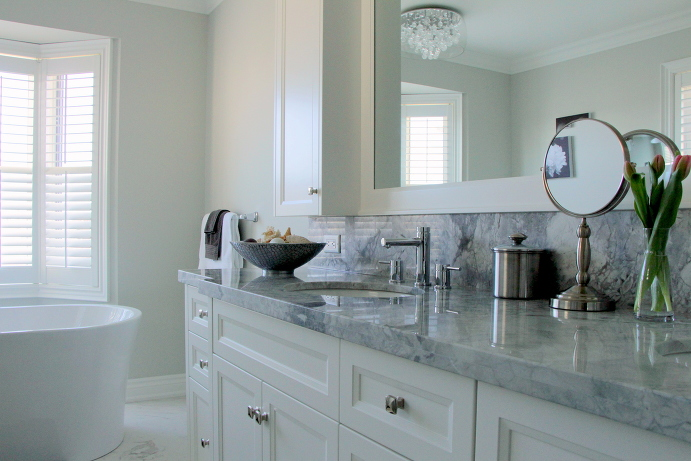 White and Grey Master Bathroom